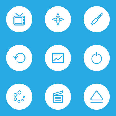 Multimedia icons line style set with presentation, loading, start and other repeat   elements. Isolated vector illustration multimedia icons.