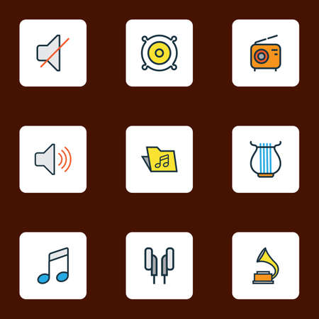 Audio icons colored line set with speaker, radio, off and other mute elements. Isolated vector illustration audio icons.