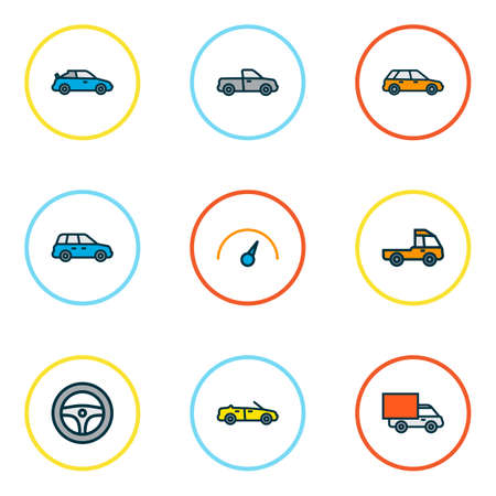 Automobile icons colored line set with crossover, cabriolet, pickup and other machine    elements. Isolated vector illustration automobile icons.