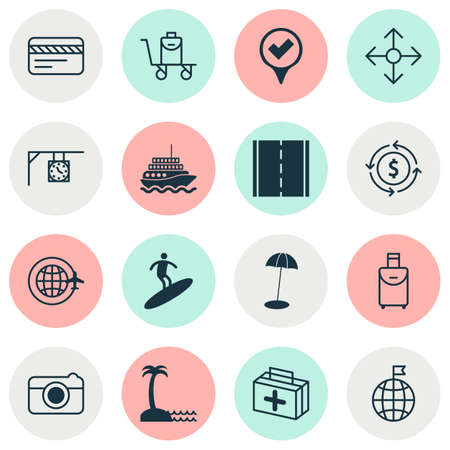 Travel icons set with surfing, travel bag, camera and other yacht elements.