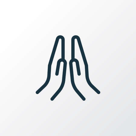 Prayer icon line symbol. Premium quality isolated praying hands element in trendy style.