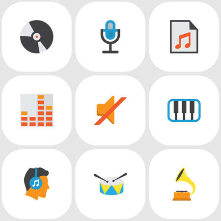 Audio icons flat style set with synthesizer, play list, listen and other quiet  elements. Isolated  illustration audio icons.