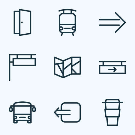 Public icons line style set with bus, train, door and other hanging board   elements. Isolated vector illustration public icons.