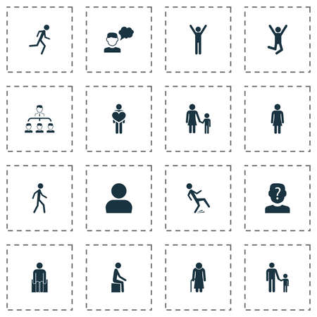 Person icons set with human, subordination, mother with child and other feeling   elements. Isolated vector illustration person icons. Illustration
