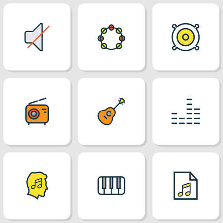 Multimedia icons colored line set with equalizer, piano, guitar and other mute   elements. Isolated vector illustration multimedia icons.