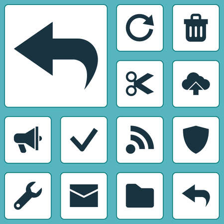 User icons set with feed, mail, folder and other load