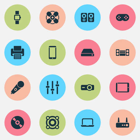 Technology icons set with setting, tablet, smartphone and other ventilation elements. Isolated vector illustration technology icons.