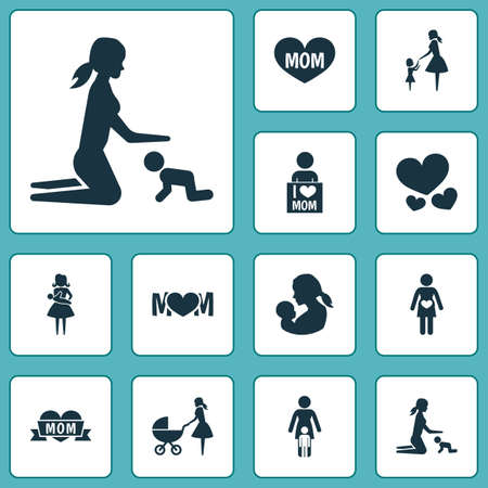 Mothers day icon design concept. Set of 12 such elements as pregnant woman, daughter and mom. Beautiful symbols for mother, baby and mom.