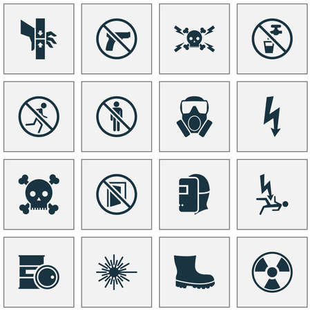Safety icons set with keep door closed, barrel, stop and other lightning   elements. Isolated vector illustration safety icons.