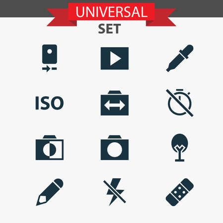 Image icons set with nature, flash off, iso and other photo apparatus  elements. Isolated  illustration image icons.