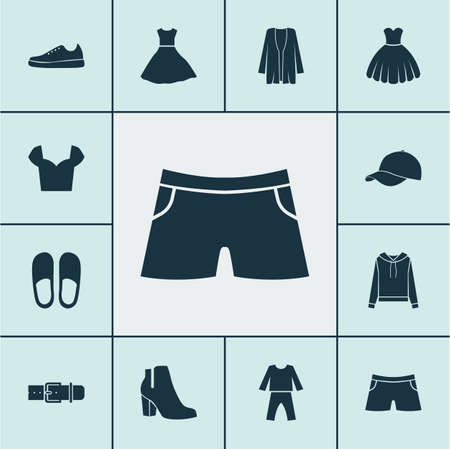 Dress icons set with dress, blouse, evening gown and other sneakers