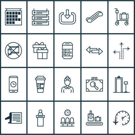Transportation icons set with luggage trolley, escalator, airline schedule and other present   elements. Isolated vector illustration transportation icons. 向量圖像