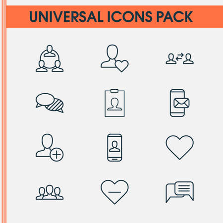 Communication icons set with favorite, conversation, mobile mailing and other identity card