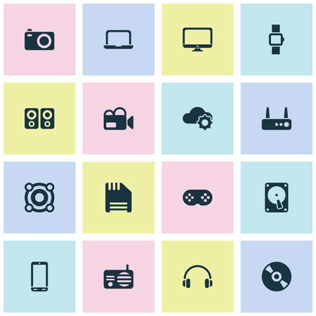Icônes de gadget définies avec routeur, haut-parleur, téléphone et autres éléments de haut-parleur. Icônes de gadget d'illustration vectorielle isolée.