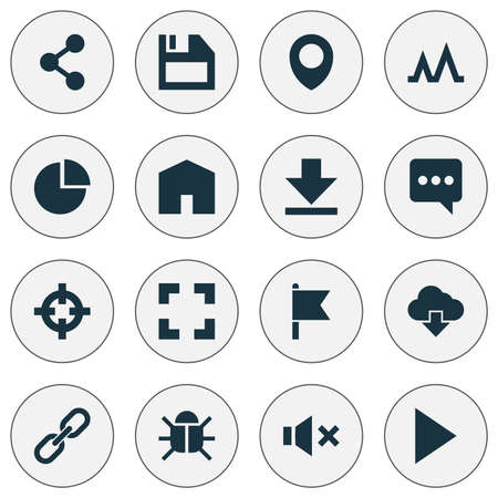 User icons set with target, storage, bug and other action  elements. Isolated  illustration user icons.