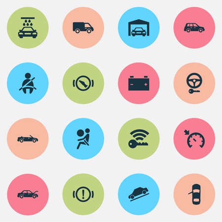 Car icons set with vehicle wash, key, hill descent and other accumulator  elements. Isolated vector illustration car icons.