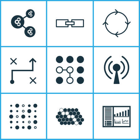 Learning icons set with computational complexity, control panel, gear algorithm and other variable architecture    elements. Isolated vector illustration learning icons.