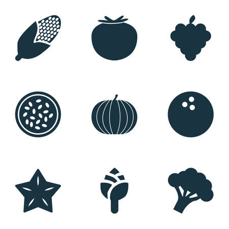 Fruit icons set with tomato, marakuja, artichoke and other ketchup elements. Isolated vector illustration fruit icons. Vettoriali