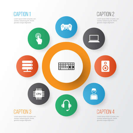 Digital icons set with cpu, gamepad, man with laptop and other database elements. Isolated vector illustration digital icons.