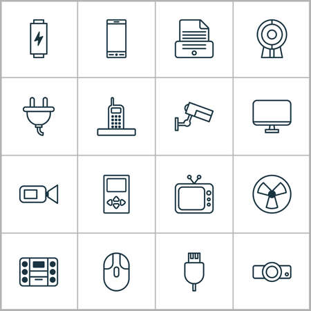 Hardware icons set with media device, music player, video camera and other call elements. Stockfoto