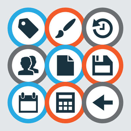 Interface icons set with history, back, badge and other backward elements. Isolated vector illustration interface icons.