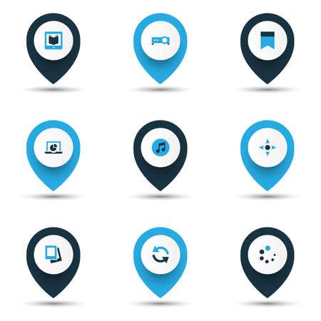 Iconos multimedia coloreados con marcador, galería, controlador y otros elementos multimedia. Ilustración de vector aislado iconos multimedia. Ilustración de vector