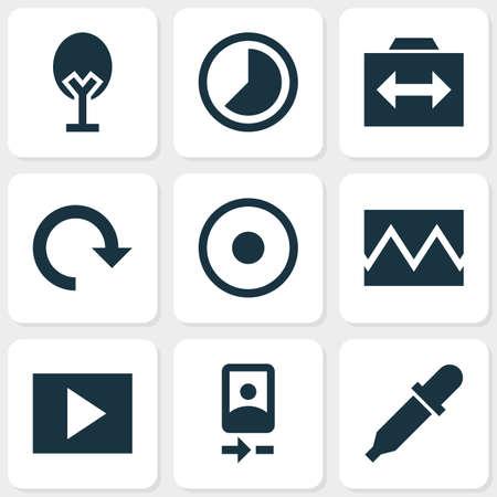 Iconos de imagen con timelapse, rotar, presentación de diapositivas y otros elementos acelerados. Iconos de imagen de ilustración de vector aislado. Ilustración de vector