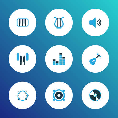 Multimedia icons colored set with timbrel, lyre, earphone and other guitar  elements. Isolated vector illustration multimedia icons. Vectores