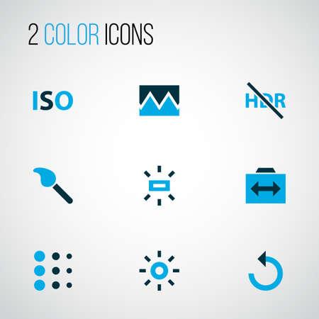 Iconos de imagen coloreados con iso, recarga, efecto y otros elementos hdr off. Iconos de imagen de ilustración de vector aislado.