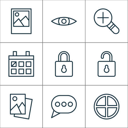 Network icons set with messaging, scenery image, open lock and other landscape photo elements. Isolated vector illustration network icons.
