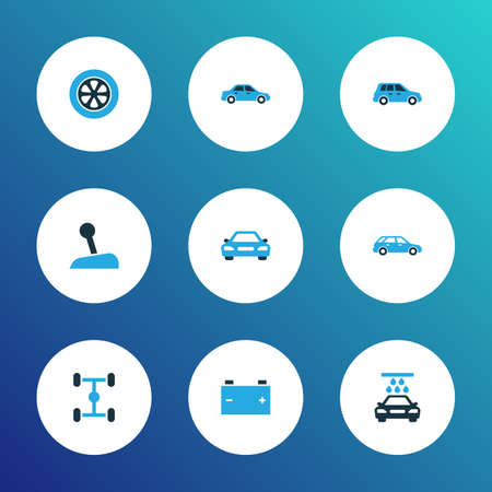 Auto icons colored set with transport cleaning, wheelbase, stick and other chassis  elements. Isolated  illustration auto icons. Stock Photo