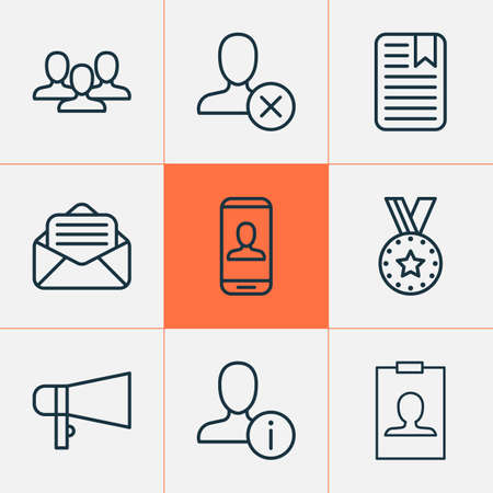 Social icons set with open envelope, megaphone, information and other note page