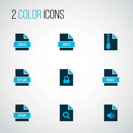 Types icons colored set with fie raw, file mp3, file mkv and other multimedia  elements. Isolated vector illustration types icons. Ilustração