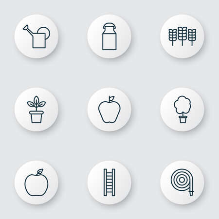 Garden icons set with bailer, ladder, plant pot and other wheat elements. Isolated vector illustration garden icons.