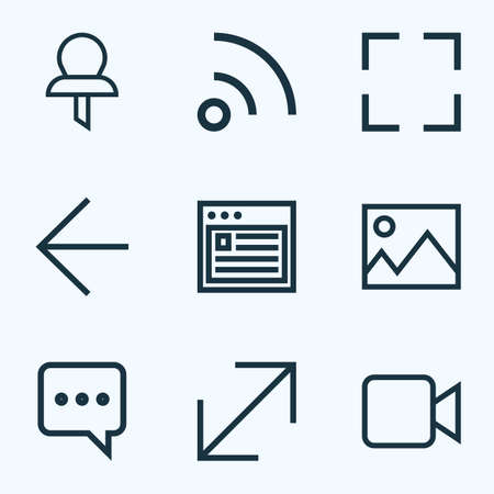 Style de ligne d'icônes d'interface défini avec capture d'écran, messager, Web et autres éléments de flux. Icônes d'interface d'illustration vectorielle isolée. Vecteurs