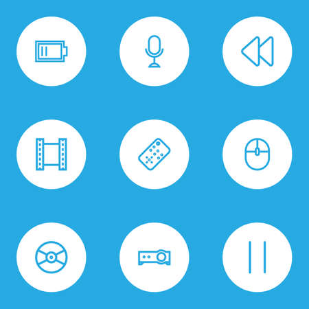 Media icons line style set with pause, remote, video and other presentation  elements. Isolated vector illustration media icons.