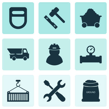 Industrial icons set with truck, screwdriver with key, trolley and other dumper  elements. Isolated  illustration industrial icons.