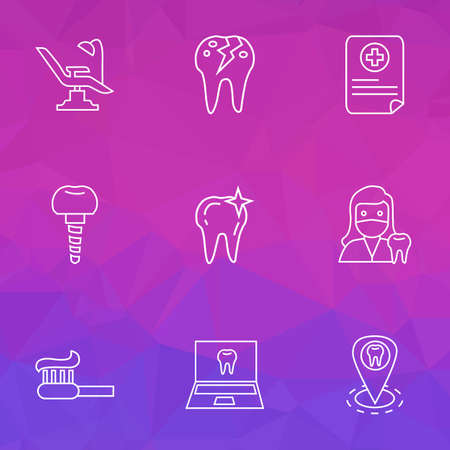 Dental icons line style set with cracked tooth, dentist location, clean tooth and other toothbrush