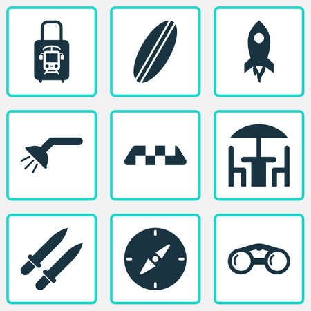 Trip icons set with shower, binoculars, suitcase with electric train and other zoom elements. Isolated vector illustration trip icons.