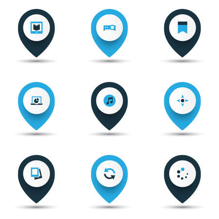 Media icons colored set with bookmark, gallery, controller and other multimedia  elements. Isolated  illustration media icons. 版權商用圖片