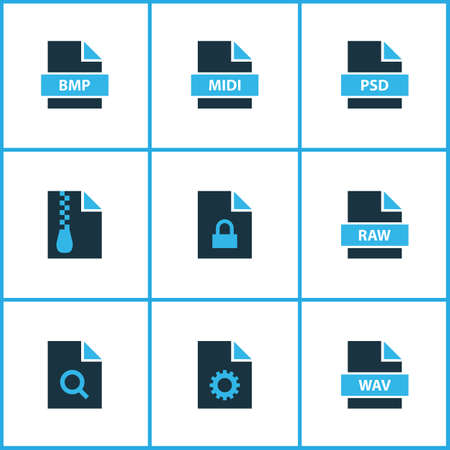 Types icons colored set with search file, file archive, file bmp and other zip