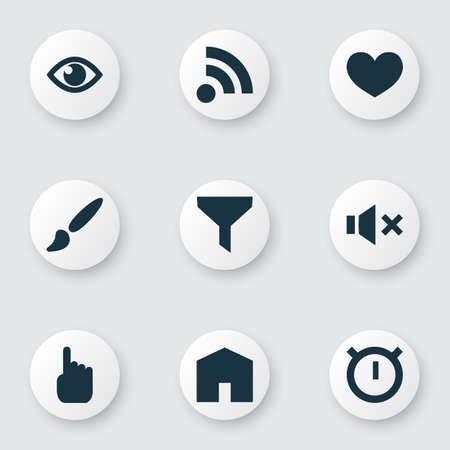 User icons set with show, filter, feed and other home