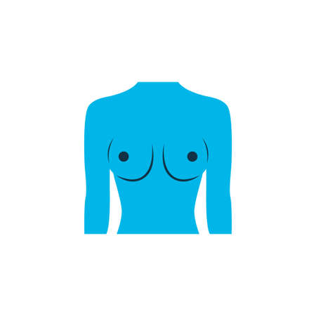Breast icon colored symbol. Premium quality isolated boob element in trendy style.