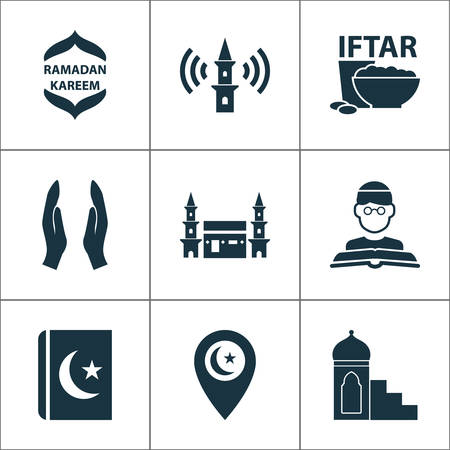 Religion icons set with mimbar, religion, mecca and other hejaz elements. Isolated vector illustration religion icons.