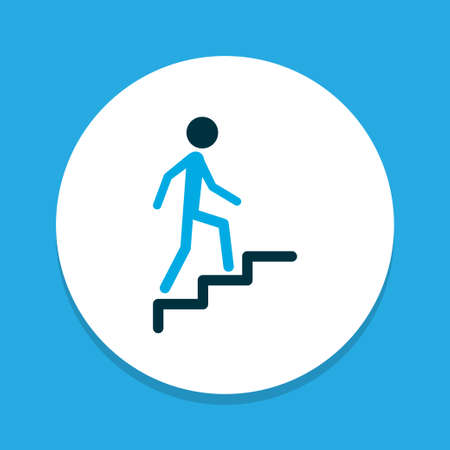 Climbing icon colored symbol. Premium quality isolated stairs element in trendy style.