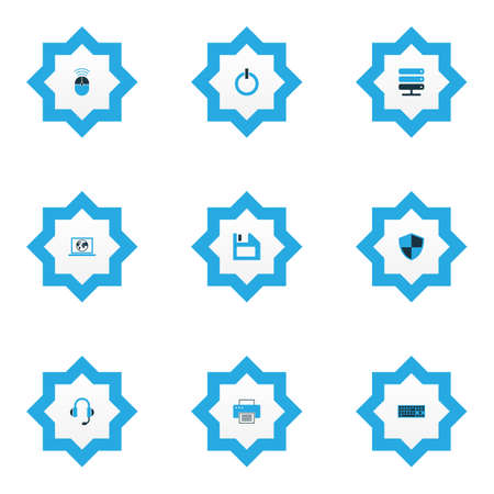 Computer icons colored set with start button, printer, computer mouse and other earphones    elements. Isolated vector illustration computer icons. Vettoriali