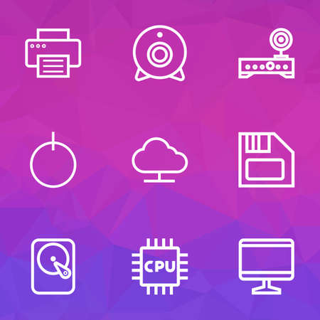 Hardware icons line style set with print, webcam, monitor and other camera 
