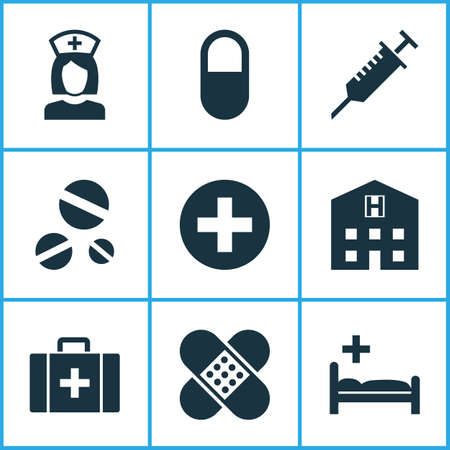 Medicine icons set with pill, case, clinic and other retreat