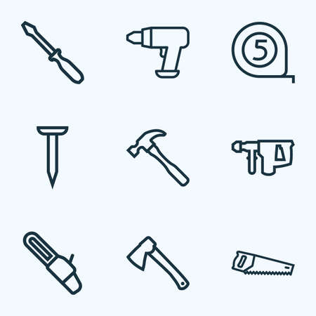 Handtools icons line style set with tape measure, saw, hatchet and other meter