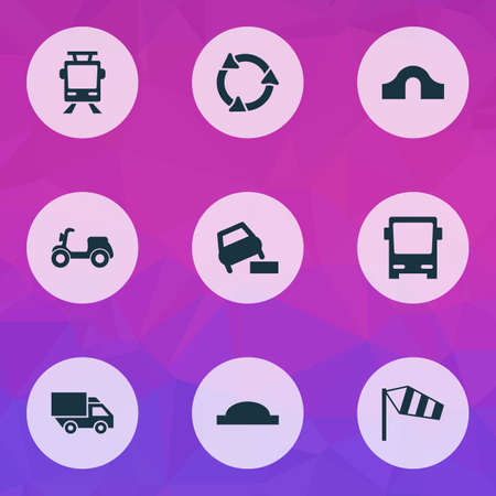 Transportation icons set with tram, hump bridge, side wind and other vehicle